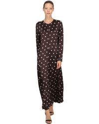 Ganni Brown Cameron Polka Dots Satin Viscose Dress