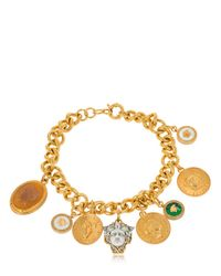 Versace Metallic Chain Necklace With Charms