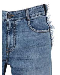 Stella McCartney - Blue Distressed Patchwork Organic Denim Jeans - Lyst
