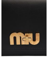 Miu Miu - Black Logo Turnlock Leather Shoulder Bag - Lyst