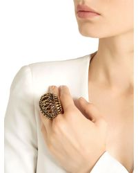 Alcozer & J - Metallic Brass Ring W/ Garnet Stones - Lyst
