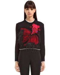 Ainea - Black Carp Wool Blend Knit Sweater W/ Feathers - Lyst
