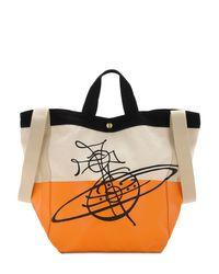 Vivienne Westwood Orange Worker Runner Cotton Tote Bag