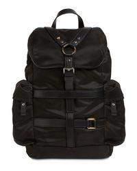 メンズ Versace ナイロン&レザーバックパック Black