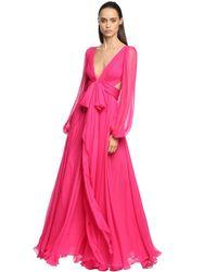 Alexander McQueen シルククレープドレス Pink
