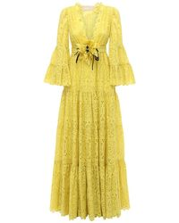 Elie Saab コットンブレンドドレス Yellow