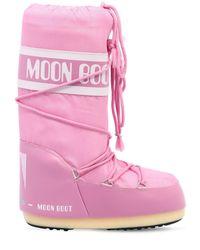 Moon Boot Pink Classic Nylon Waterproof Snow Boots