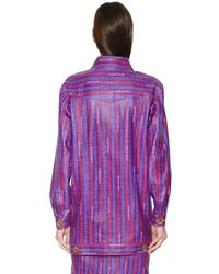 Trussardi - Purple Logo Printed Nappa Leather Jacket - Lyst