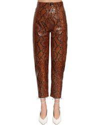Pantaloni In Pelle Stampa Serpente di The Attico in Brown