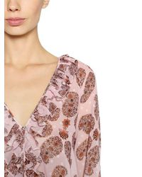 Giamba Pink Ruffled Printed Georgette Blouse