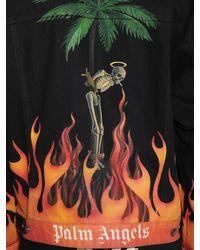 メンズ Palm Angels Burning Flames コットンデニムジャケット Black