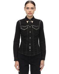 Versace Jeans Black Westernhemd Aus Denim Mit Nieten