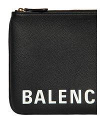 Balenciaga Black Pouch Aus Narbleder Mit Logodruck
