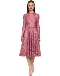 Dolce & Gabbana シャンティリーレースラメミディドレス Pink