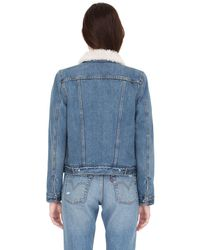 Levi's Blue Faux Shearling & Cotton Denim Jacket