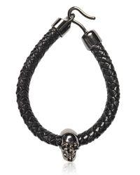 Alexander McQueen Black Skull Woven Leather Bracelet for men