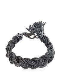 Bracelet Moyen En Argent Massif Tressé Emanuele Bicocchi en coloris Black