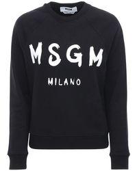 MSGM Black Sweatshirt Aus Baumwolljersey Mit Logodruck