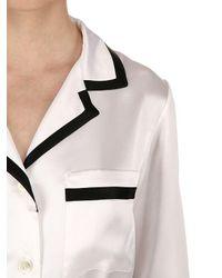 Loretta Caponi White Silk Satin Pajama Set