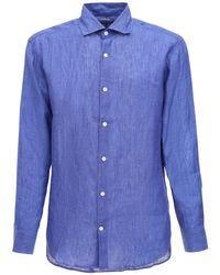 メンズ Frescobol Carioca レギュラーフィットリネンシャツ Blue