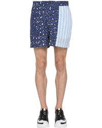 メンズ Neil Barrett キュプラ&コットンポプリンショートパンツ Blue