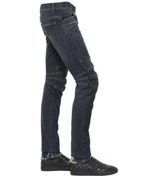 Balmain Blue 17cm Biker Washed Cotton Denim Jeans for men