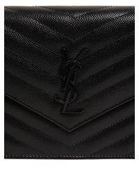 Bolso Pequeño De Piel Pespunteada Y Monograma Saint Laurent de color Black