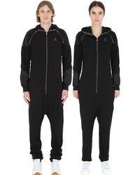 OnePiece - Black Detachable Sleeves Cotton Piqué Jumpsuit - Lyst
