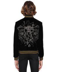 メンズ Saint Laurent Teddy ベルベットボンバージャケット Black