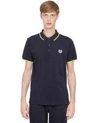 KENZO Blue Tiger Cotton Piqué Polo Shirt for men