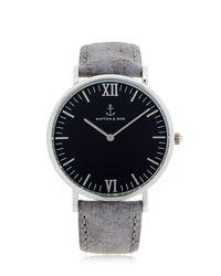 KAPTEN & SON Metallic 40mm Vintage Leather Watch for men