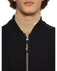 MSGM Embroidered Wool Cloth Bomber Jacket in Black für Herren