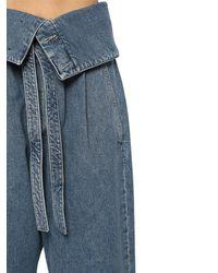 Jean Court Oversize En Denim De Coton Loewe en coloris Blue