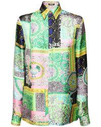 Versace Barrocco Mosaic シルクツイルシャツ Multicolor