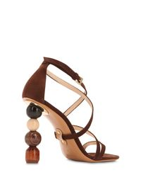 Jacquemus Brown 90mm Rumba Suede Sandals