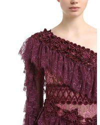 RAISA & VANESSA Red Ruffled One Sleeve Lace Dress