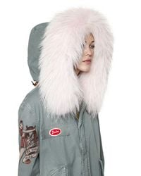 Mr & Mrs Italy Multicolor Printed Canvas Parka W/ Fur Collar