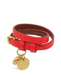 Alexander McQueen レザー ダブルブレスレット Red