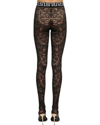 Stretch Lace Footed Leggings Versace, цвет: Black