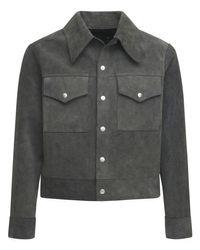 メンズ Maison Margiela リバーシブルスエード&レザージャケット Black
