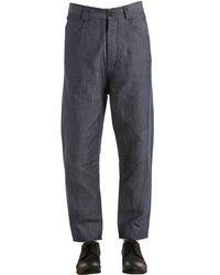 Isabel Benenato Blue Jeans Carrot Fit In Denim Di Cotone E Lino for men