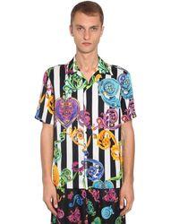 メンズ Versace Jeans ビスコースツイルボウリングシャツ Multicolor