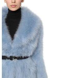 Veste En Fourrure De Mouton Avec Ceinture Prada en coloris Blue
