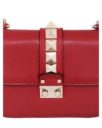 Valentino Red Small Lock Nappa Leather Shoulder Bag