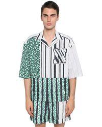 メンズ Neil Barrett コットン&キュプラボウリングシャツ Multicolor