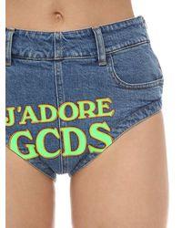 Gcds コットンデニムショートパンツ Blue