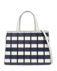 Max Mara - White Small Striped Leather Top Handle Bag - Lyst