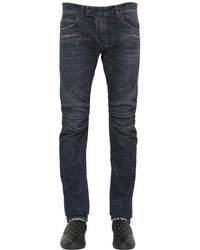 Balmain Blue 17cm Biker Washed Cotton Denim Jeans for men