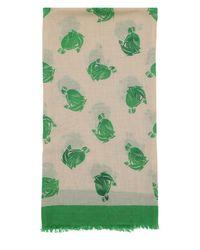 Lanvin ウール混 ロゴプリントスカーフ Green