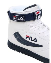 Fila Blue Leather High Top Basketball Sneakers for men